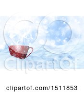 Clipart Of A 3d Coffee Mug In A Winter Landscape Royalty Free Illustration