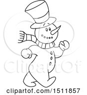 Clipart Of A Lineart Snowman Walking Royalty Free Vector Illustration by yayayoyo