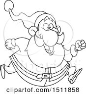 Clipart Of A Lineart Santa Claus Running Royalty Free Vector Illustration