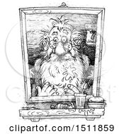 Clipart Of A Sketched Portrait Of Santa After The New Year On A White Background Royalty Free Illustration
