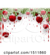 3d Border Of Christmas Tree Branches And Red Baubles Over Text Space