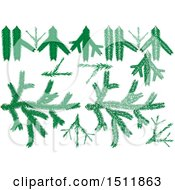 Clipart Of Green Christmas Branch Garlands Royalty Free Vector Illustration