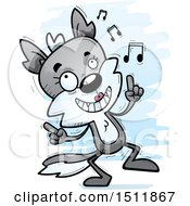 Clipart Of A Happy Dancing Female Wolf Royalty Free Vector Illustration