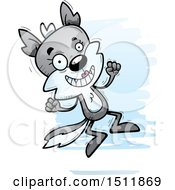 Clipart Of A Jumping Female Wolf Royalty Free Vector Illustration