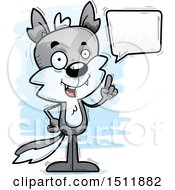 Clipart Of A Happy Talking Male Wolf Royalty Free Vector Illustration