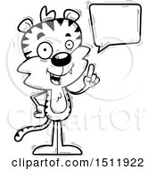 Clipart Of A Black And White Happy Talking Male Tiger Royalty Free Vector Illustration