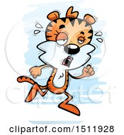 Clipart Of A Tired Running Female Tiger Royalty Free Vector Illustration