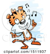 Clipart Of A Happy Dancing Male Tiger Royalty Free Vector Illustration