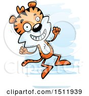 Clipart Of A Jumping Male Tiger Royalty Free Vector Illustration