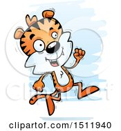 Clipart Of A Running Male Tiger Royalty Free Vector Illustration