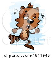 Clipart Of A Tired Running Male Beaver Royalty Free Vector Illustration