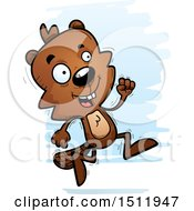 Clipart Of A Running Male Beaver Royalty Free Vector Illustration
