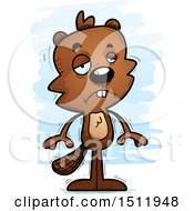 Clipart Of A Sad Male Beaver Royalty Free Vector Illustration