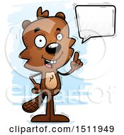Clipart Of A Happy Talking Male Beaver Royalty Free Vector Illustration
