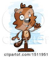 Clipart Of A Friendly Waving Male Beaver Royalty Free Vector Illustration by Cory Thoman