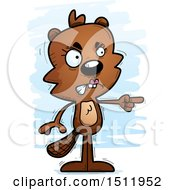 Clipart Of A Mad Pointing Female Beaver Royalty Free Vector Illustration