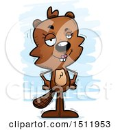 Clipart Of A Confident Female Beaver Royalty Free Vector Illustration