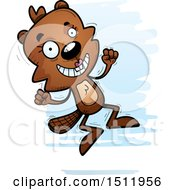 Clipart Of A Jumping Female Beaver Royalty Free Vector Illustration