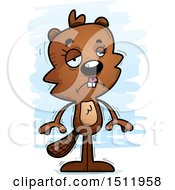 Clipart Of A Sad Female Beaver Royalty Free Vector Illustration
