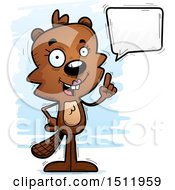Clipart Of A Happy Talking Female Beaver Royalty Free Vector Illustration
