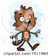 Clipart Of A Happy Walking Female Beaver Royalty Free Vector Illustration