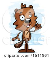 Clipart Of A Friendly Waving Female Beaver Royalty Free Vector Illustration