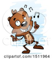 Clipart Of A Happy Dancing Male Beaver Royalty Free Vector Illustration