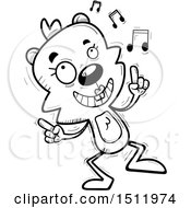 Clipart Of A Black And White Happy Dancing Female Beaver Royalty Free Vector Illustration