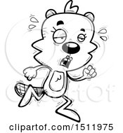 Clipart Of A Black And White Tired Running Female Beaver Royalty Free Vector Illustration