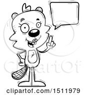 Clipart Of A Black And White Happy Talking Female Beaver Royalty Free Vector Illustration