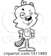 Clipart Of A Black And White Confident Male Beaver Royalty Free Vector Illustration