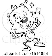 Clipart Of A Black And White Happy Dancing Male Beaver Royalty Free Vector Illustration
