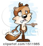 Clipart Of A Mad Pointing Female Squirrel Royalty Free Vector Illustration