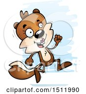 Clipart Of A Running Female Squirrel Royalty Free Vector Illustration