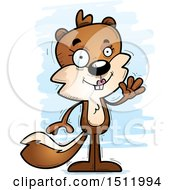 Clipart Of A Friendly Waving Female Squirrel Royalty Free Vector Illustration