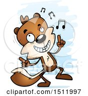 Clipart Of A Happy Dancing Male Squirrel Royalty Free Vector Illustration