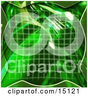 Green Grid And 3d Bubble Clipart Illustration