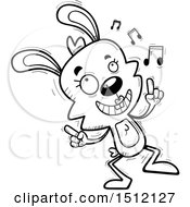 Clipart Of A Black And White Happy Dancing Female Rabbit Royalty Free Vector Illustration