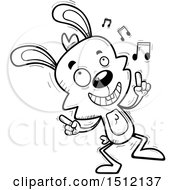 Clipart Of A Black And White Happy Dancing Male Rabbit Royalty Free Vector Illustration