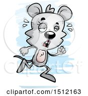 Clipart Of A Tired Running Female Mouse Royalty Free Vector Illustration