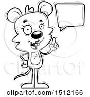 Clipart Of A Black And White Happy Talking Female Mouse Royalty Free Vector Illustration