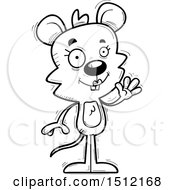 Clipart Of A Black And White Friendly Waving Female Mouse Royalty Free Vector Illustration