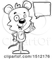 Clipart Of A Black And White Happy Talking Male Mouse Royalty Free Vector Illustration