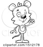 Clipart Of A Black And White Friendly Waving Male Mouse Royalty Free Vector Illustration