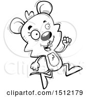 Clipart Of A Black And White Running Female Mouse Royalty Free Vector Illustration