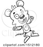 Clipart Of A Black And White Jumping Female Mouse Royalty Free Vector Illustration