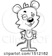 Clipart Of A Black And White Confident Female Mouse Royalty Free Vector Illustration