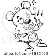 Clipart Of A Black And White Happy Dancing Female Mouse Royalty Free Vector Illustration