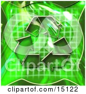 Green Background With Circling Arrows Over A Graph Symbolizing Renewable Energy Or Recycling Clipart Illustration