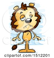 Clipart Of A Sad Male Lion Royalty Free Vector Illustration